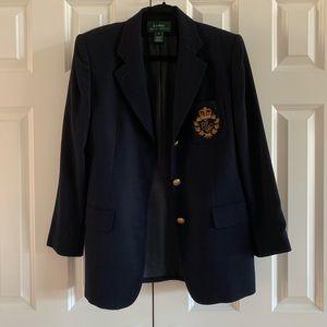 {Ralph Lauren} classic wool blazer with crest EUC!